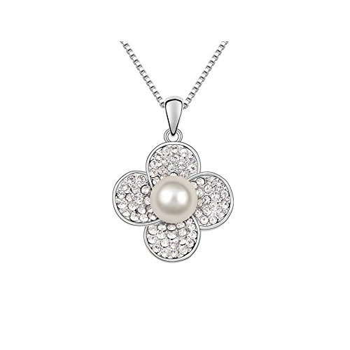 Gorgeous Jewelry Deluxe Style Diamond Accented Pearl Flower Pendant Silver Plated Women (Beetle Costume Uk)