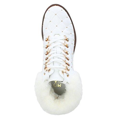 Cuir Berrina Pelle Clouté Leather Blanc In White Hiker Moda Bottes TZHxApW