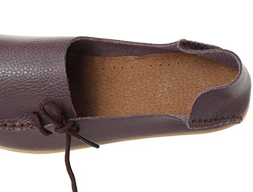 Moccasins Comfy Beginning Ladies Auspicious Café Work Shoes Leather Loafers Flats E7qwXH