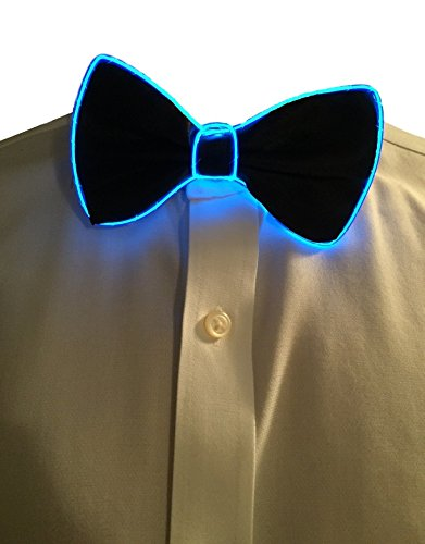 [GlowTies LED Bowties Costume Accessory for Halloween / Rave Party Gear Clothing (Blue)] (Light Up Costumes For Adults)