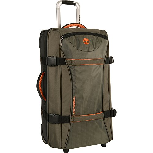 Timberland Wheeled Duffle Bag - 26 Inch Lightweight Rolling Luggage Travel Bag Suitcase for Men, Burnt Olive/Burnt Orange ()