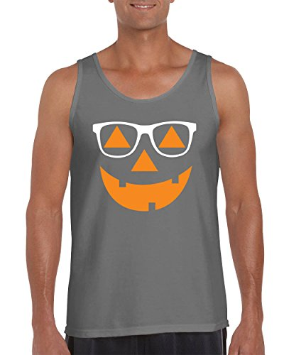 Halloween Costumes Hipster Jack O' Lantern Falcon's Tank Tops for Men Shirts ( Charcoal , Large (Halloween Costumes Hipster)
