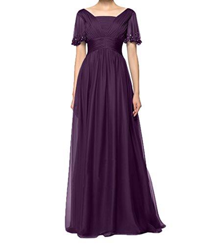 Brautmutterkleider Partykleider Abendkleider Kurzarm Charmant Chiffon mit Damen Traube Langes Festlichkleider Ballkleider qWxIxtYz