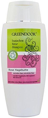 Greendoor Natur Shampoo Rose Hagebutte 200ml aus BIO Olivenöl, ohne Sulfate, ohne Silikon, ohne Konservierungsmittel, basische BIO Haarpflege