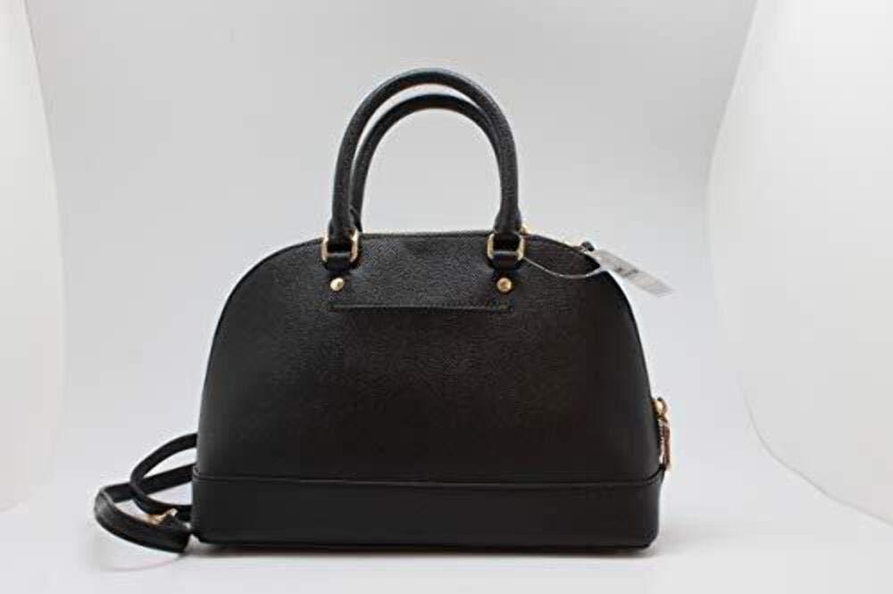 Coach Womens Mini Sierra Satchel Handbag, Crossgrain Leather, Detachable Crossbody Strap (Mini, Black),Medium