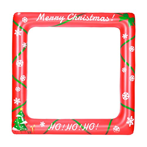 BESTOYARD Christmas Inflatable Frame Blow Up Selfie Party Props for Christmas Photo Booth Props Family Reunions Party Decoration