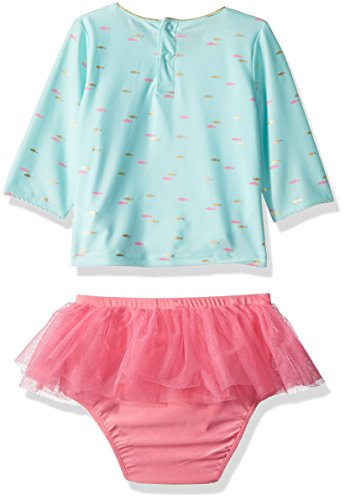 4aa31297440 Mud Pie Baby Girls Mermaid Ruffle Rash Guard 2 Piece Swimsuit, Blue, 2T