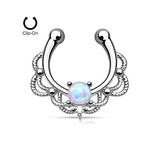Lacey Single Opal 16g Septum Hanger Clip On Non No Piercing - Choose Blue, White, Pink or Purple Synthetic Opal (White) (Non Piercing Jewels)