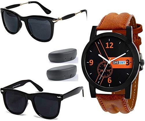 e6f1ed16348 Mens Sunglasses Low Price Combo Stylish Set of 2 Fashion Wayfarer Goggle  and Sunglasses for Men ...