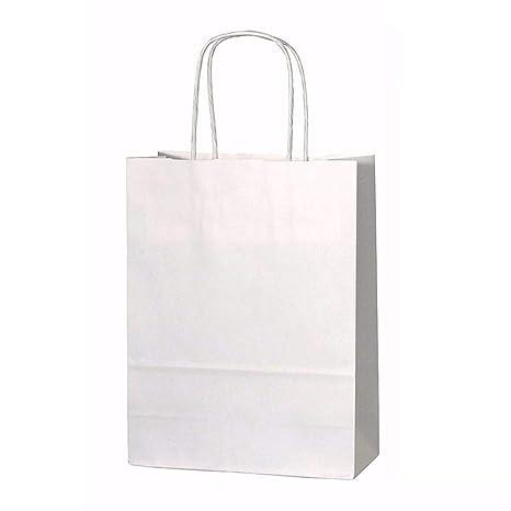 20 bolsas de papel kraft con asas trenzadas e ideales para utilizar en fiestas o para hacer regalos, Blanco, Small