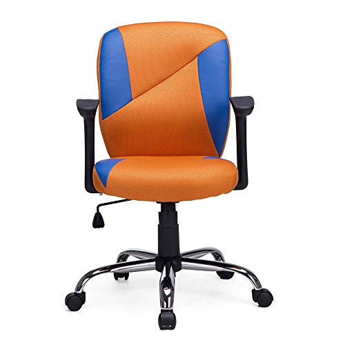 NKV Mid Back Mesh Chair Task Office Chair Desk Computer Chair Ergonomic Swivel Home Chair with Adjustable Armrests Black