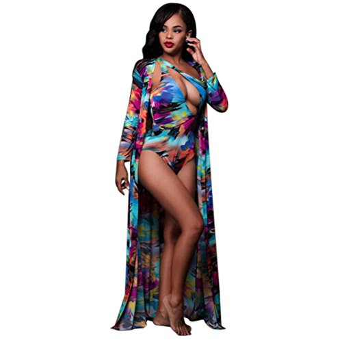 Polka Dot Miracle Suit - OVERMAL Women Ink Printing Bikini Swimwear Bathing One Cloak Coat +Romper Swimsuit (L)