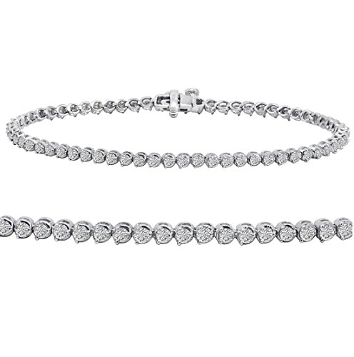 AGS Certified 2 ct tw Diamond Tennis Bracelet in 14K White Gold 7 inch