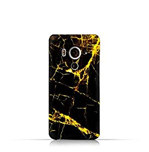 HTC Butterfly 3 TPU Silicone Case With Dark and Gold Mesh Marble Pattern