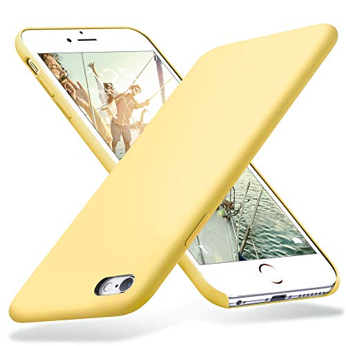 KUMEEK iPhone 6s Case, iPhone 6 Case, Liquid Silicone Rubber with Soft Microfiber Cloth Cushion Protective Case Thin Slim for iPhone 6s / iPhone 6 - Yellow