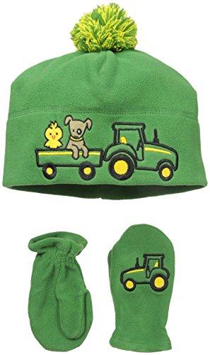 John Deere Little Boys Winter Hat AND Mitten Set, Green, TODDLER