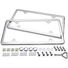 License Plate Frames, Ohuhu 2 Pcs 4 Holes Slim Stainless Steel Polish Mirror License Plate Frame + Chrome Screw Caps