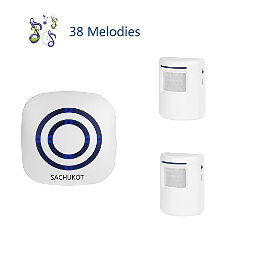 Wireless Driveway Alert, SACHUKOT Home Security System Alarm Visitor Door Bell Chime Infrared Motion Sensor Chime with 1 Receiver and 2 Sensor-38 Melodies by SACHUKOT