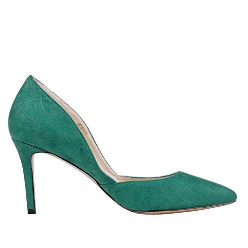 EKS - Zapatos de Tacón Mujer - Gr¨¹n-Wildleder