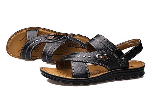 2017 nuevas sandalias de la playa de los hombres, zapatillas de cuero del zurriago de los zapatos transpirables Black