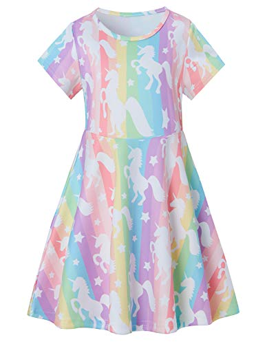 - Dress Girl Daily T Shirt Sundress Unicorn Toddler Short Sleeve Party Outfits Animal Easter Colorful Rainbow Dresses Swing Kids School Apparel Summer Vacation Playwear Size 8