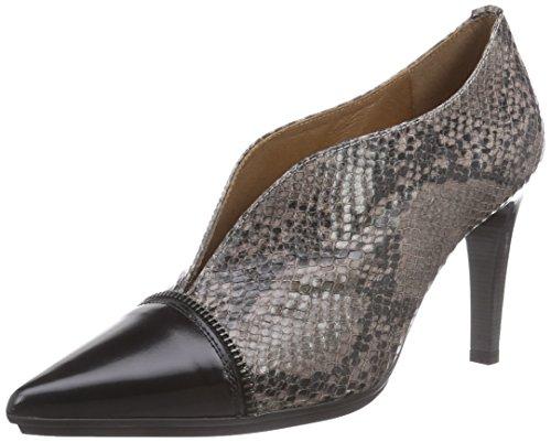 Hispanitas VINCE - zapatos de tacón cerrados de piel mujer multicolor - Mehrfarbig (Antiq Black/Serp Vison)