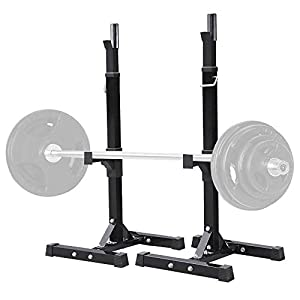 Yaheetech Pair of Adjustable Squat Rack Standard 44-70 Inch Solid Steel Squat Stands Barbell Free-press Bench Home Gym…