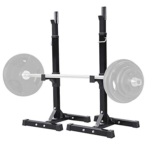 Yaheetech Pair of Adjustable Squat Rack Standard Solid Steel Squat Stands Barbell Free Press Bench Home Gym Portable Dumbbell Racks Stands 44