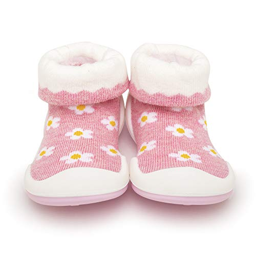Komuello Girl Baby Toddler Pull up First Walker Non Slip Soft Cotton Premium Sock Shoes Daisies Toddler 6 (12-18 Months)