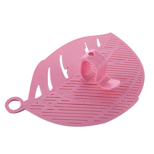 (Ackful1PC Durable Clean Leaf Shape Rice Wash Sieve Cleaning Gadget Kitchen Clips Tools (Pink))