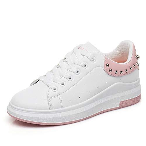 GUNAINDMX Zapatillas de Deporte de Diamantes de imitación de Mujer Zapatos de Cuero de otoño de la PU de Primavera Zapatos de Plataforma con Cordones de Lady Fashion pink