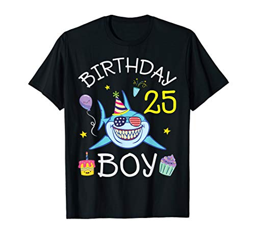 US Flag Glass Shark Cake Balloon Happy Birthday 25 Years Boy T-Shirt (Birthday Cake For 25 Year Old Boy)
