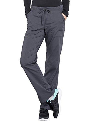 - Cherokee WW Professionals WW160 Mid Rise Straight Leg Drawstring Pant Pewter L