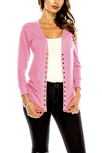 Women's V Neck Cardigan Snap Button 3/4 Sleeve Sweater with Ribbed Detail Collection Plus Size [S-3X] Candy Pink Large