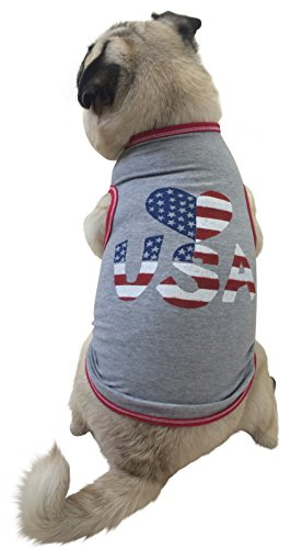 I See Spot's Heart USA Pet Tank T-Shirt, XX-Large, Grey
