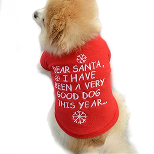 - haoricu Pet Shirt, Winter Christmas Dog Cotton Costume Small Dog Cat Pet Clothing Puppy T Shirt Apparel Warm Pullover High-Grade Embroidered (M, Red)
