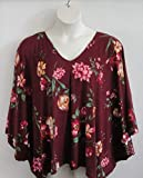 Shoulder Shirt Side Opening Post Surgery Shirt ~ Shoulder- Mastectomy - Breast Cancer/Adaptive Clothing- Hospice, Seniors/Rehab - Burgundy Floral -Style Kiley