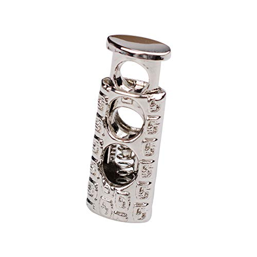 (iHYAO Metal Cord Locks End Spring Stop Toggle Stoppers,Embossed pattern Cord Locks (Silver,6 PCS) )