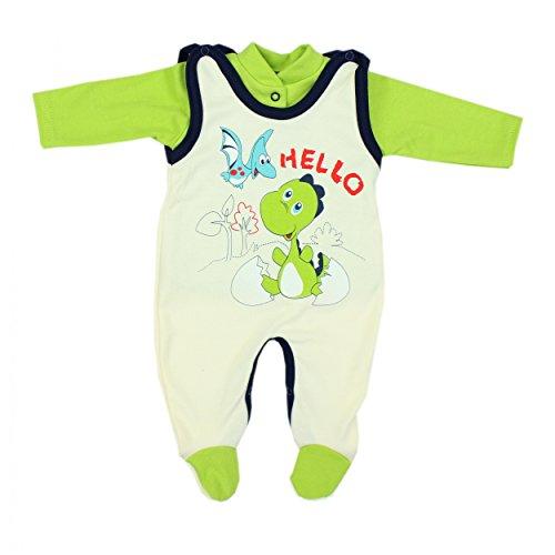Baby Strampler mit Spruch I love Mum and Dad oder mit Aufdruck 2-tlg. Stramplerset mit Oberteil, Farbe: Dino Grün, Größe: 68