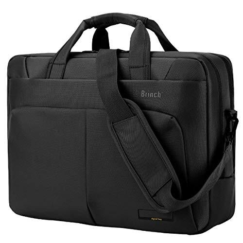 BRINCH Laptop Bag 15.6 Inch Water Resistant Nylon Messenger Bag Travel Briefcase Laptop Shoulder Bag Durable Notebook Carrying Case w/Upgraded Laptop Compartment for Business/College/Women/Men,Black