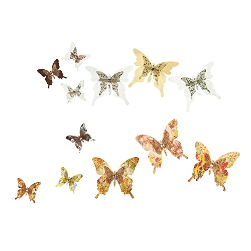 Roser Life Craft Butterflies⎮Decorative Artificial Butterfly Clips⎮Silk Fabric Butterfly Decorations⎮Floral Butterflies⎮Handmade Vintage Ornament⎮Home Party Garden Outdoor Decor Rose Gold (Pack of 12) -