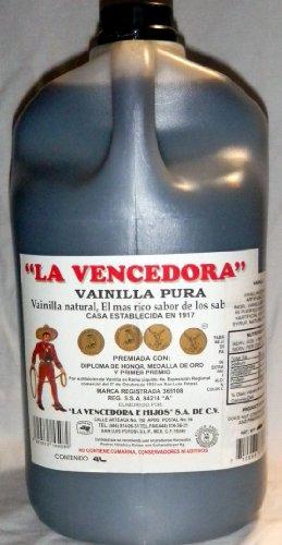 La Vencedora 1 Gallon 4 Liters Pure Mexican Vanilla Vainilla Extract From Mexico by La Vencedora