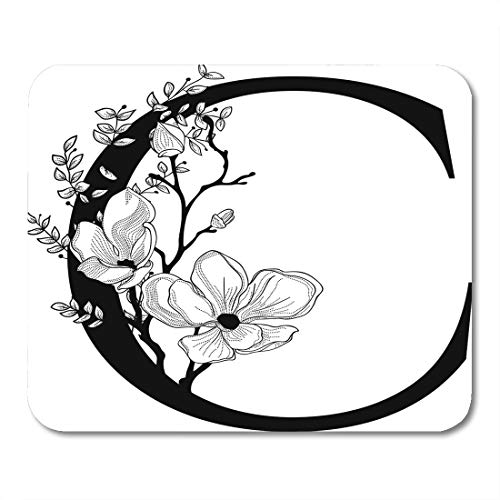 Semtomn Mouse Pad Couture Floral C Monogram Letter Flowers and Branches Cherry Mousepad 9.8