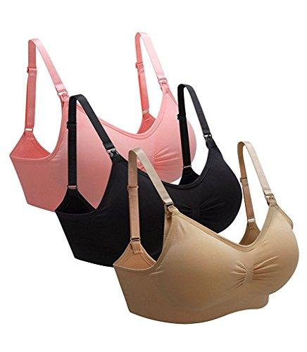 yuanyan comodidad dormir Bra inalámbrico ropa interior delantero Abierto Sujetador de lactancia sin costuras 3Pack,Black-pink-Skin