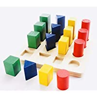 SN Toy Zone High Quality Wooden 16Pc Geometric Shapes and Blocks Sorter with Different Shapes and Sizes Puzzle(1 Fancy Gel Pen Free)
