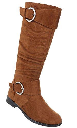 Damen Schuhe Stiefel Strass Besetzte Used Optik Modell Nr.2 Camel