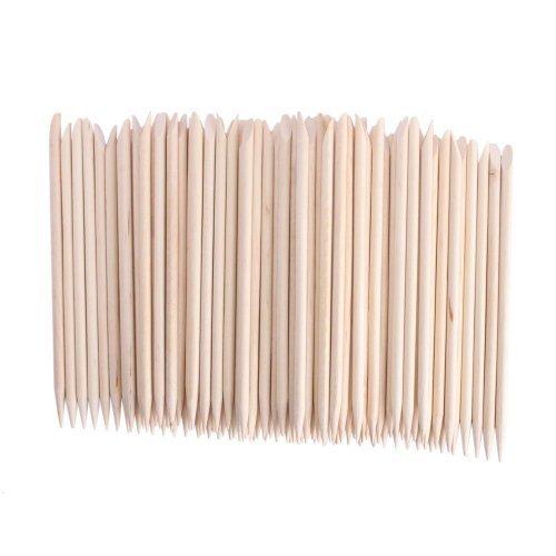 JOVANA 100 pcs Nail Art Orange Wood Sticks Cuticle Pusher Remover Manicure Pedicure Tool 120mm (Manicure Orange Wood Sticks)