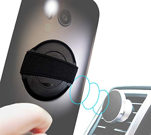 (circett - Rotate 360° Phone Strap - Finger Elastic Handle Sling on Thin Rotating Ring - Scratch Guard Film - Auto Vent Magnet Hold - Washable Adhesive - Universal Android iPhone Samsung Galaxy - Black)