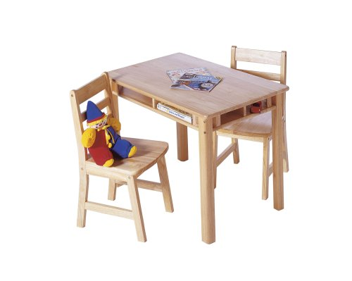 Lipper International 534 Child's Rectangular Table and 2-Chair Set, Natural Beechwood Slat Back Kitchen Chair