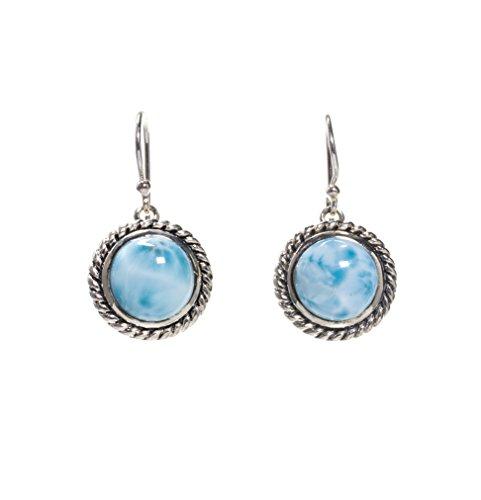 BEAN & VANILLA Larimar Stone Circle Shaped Rope Designed Earrings in Italian Sterling Silver by BEAN & VANILLA